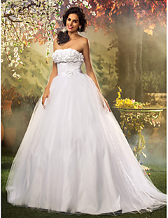 Lanting Ball Gown Plus Sizes Wedding Dress - White Floor-length Strapless Tulle/Lace