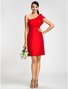 Dress Sheath / Column One Shoulder Knee-length Taffeta with Ruffles / Side Draping