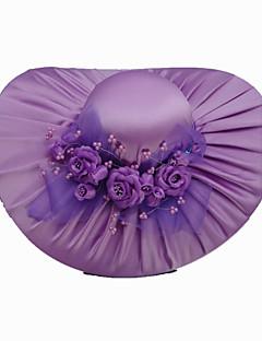 fashion satin med satin blommor bröllop / fest / smekmånaden mössa fler färger