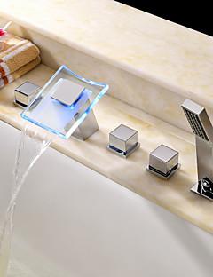 Moderne Romersk Kar LED / Vandfald / Håndbruser inkluderet with  Keramik Ventil To Håndtag fem huller for  Krom , Badekarshaner