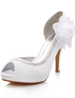 Bridal Satin Stiletto Heel Ruched Pumps with Flower and Rhinestone Wedding Shoes