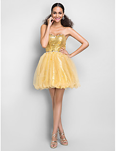 Dress - Gold Plus Sizes / Petite A-line / Princess Sweetheart Short/Mini Tulle / Sequined