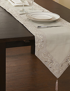 Traditional Polyester Beige Floral Table Runners