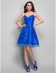 Dress - Royal Blue Plus Sizes A-line Spaghetti Straps Knee-length Taffeta