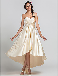 LAN TING BRIDE Asymmetrical Sweetheart Bridesmaid Dress - Open Back Sleeveless Stretch Satin
