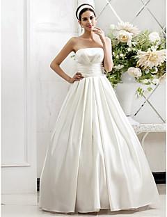 Lanting Bride A-line / Princess Petite / Plus Sizes Wedding Dress-Sweep/Brush Train Strapless Satin
