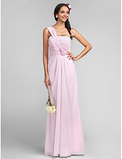 신부 들러리 드레스 - 블러슁 핑크 시스/컬럼 바닥 길이 원 숄더 쉬폰 플러스 사이즈