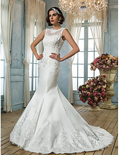 Trumpet/Mermaid Plus Sizes Wedding Dress - Ivory Court Train Jewel Satin