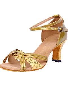 Aangepaste Fashion Dames kunstleer met sprankelende glitter latin dans schoenen (meer kleuren)