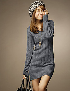 Women's Gray V Neck Slim Sweater