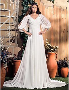 A 라인 V 넥 코트 기차 쉬폰 웨딩 드레스 (568344)를 lanting
