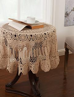 43 pouces crochet fait main Beige Regardez Tabecloth Vintage