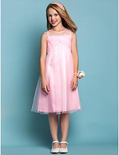 Knee-length Tulle Junior Bridesmaid Dress - Candy Pink Sheath/Column / A-line Jewel