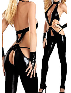 Lady Gaga Ultra Sexy Black PU Leotard Women's Costume