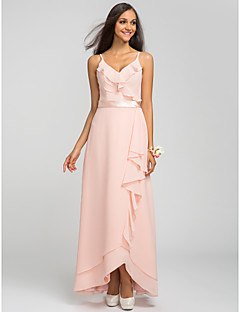 Bridesmaid Dress Asymmetrical Chiffon Sheath Column Spaghetti Straps Dress (605503)