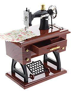 Vintage Mini Treadle Sewing Machine Design Mechanical Music Box Sartorius Model Musical Toy