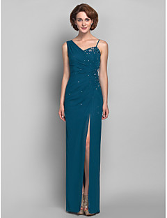 Sheath / Column Plus Size / Petite Mother of the Bride Dress Floor-length Sleeveless Chiffon withAppliques / Beading / Crystal Detailing