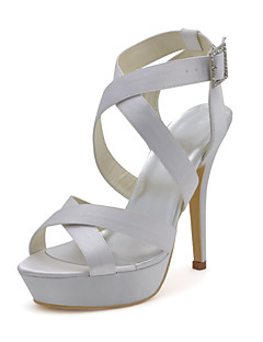 Platform Stiletto Heel Satin Sandals with Buckle Wedding Women's Shoes(More Colors)