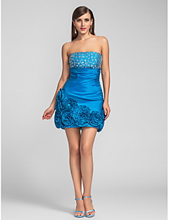 TS Couture® Cocktail Party / Prom Dress - Short Plus Size / Petite Sheath / Column Strapless Short / Mini Taffeta with Beading / Flower(s) / Ruching