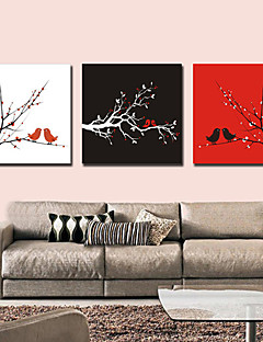 Stretched Canvas Art Botanical Bird in the Branch Set of 3