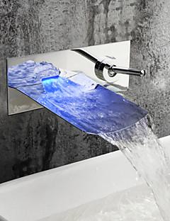 Banyo Lavabo Muslukları - Çağdaş - DI Pirinç - LED / Şelale (Krom)