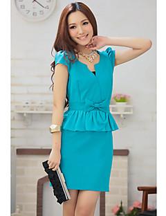 Kvinners Stand Neck Bow Montert Short Sleeve Mini Dress