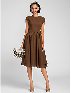 Knee-length Chiffon Bridesmaid Dress A-line Jewel Plus Size / Petite with Bow(s) / Buttons