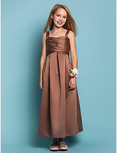Ankle-length Satin Junior Bridesmaid Dress - Brown Sheath/Column Straps