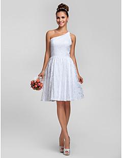 동창회 무릎 길이 레이스 들러리 드레스 - 화이트 플러스 - 라인 / 공주 어깨 하나 크기