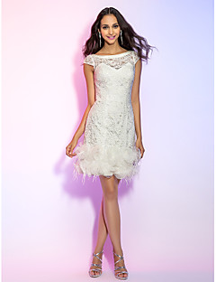Homecoming Cocktail Party/Homecoming/Holiday/Graduation Dress - Ivory Plus Sizes Sheath/Column Bateau Short/Mini Lace