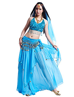 Belly Dance Outfits Women's Chiffon Beading / Coins / SequinsApple Green / Black And Gold / Black And Silver / Blue / Pink / Purple / Red