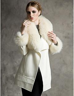 Langærmet Sjal Faux Fur og uld Party / Casual Coat
