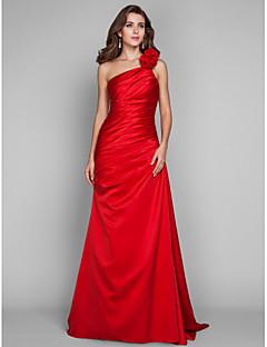 저녁 정장파티/프롬/밀리터리 볼 드레스 - 루비 시스/컬럼 바닥 길이 원 숄더 사틴 플러스 사이즈