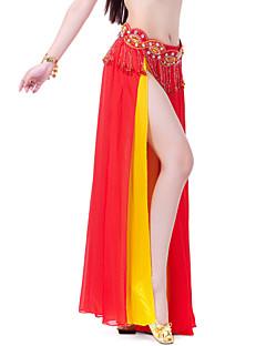 Belly Dance Skirts Women's Training / Performance Chiffon Split Front / Tiers 1 Piece Apple Green / Purple / Red Belly Dance / Ballroom