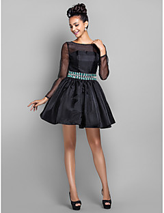 Cocktail Party / Prom / Holiday Dress - Black Plus Sizes / Petite A-line Bateau Short/Mini Organza
