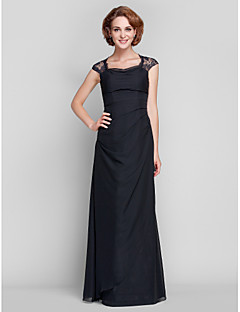 Sheath/Column Plus Sizes Mother of the Bride Dress - Black Floor-length Sleeveless Chiffon/Lace