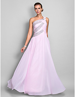 Homecoming Formal Evening/Prom/Military Ball Dress - Blushing Pink Plus Sizes Sheath/Column One Shoulder Floor-length Chiffon