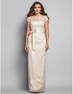 Sheath/Column Jewel Floor-length Lace Evening Dress (631246)