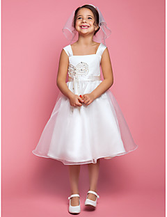 A-Lijn Knie-Lengte Bloemenmeisje jurk - Organza/Satijn Mouwloos
