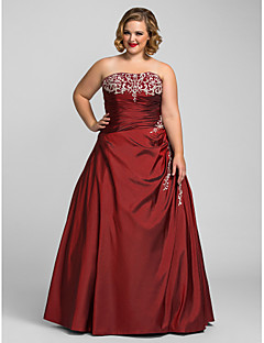 Prom/Formal Evening/Quinceanera/Sweet 16 Dress - Burgundy Plus Sizes Ball Gown/A-line/Princess Strapless Floor-length Taffeta