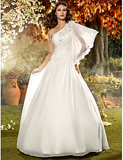 LAN TING BRIDE A-line Wedding Dress - Classic & Timeless Elegant & Luxurious Simply Sublime Floor-length One Shoulder Chiffon withFlower