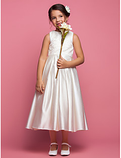 A-line/Princess Ankle-length Flower Girl Dress - Satin Sleeveless