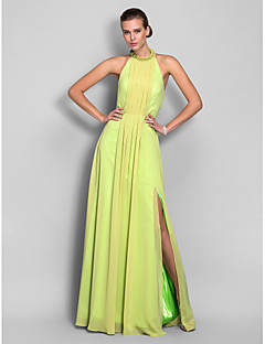 Formal Evening/Prom/Military Ball Dress - Lime Green Plus Sizes Sheath/Column High Neck Floor-length Chiffon