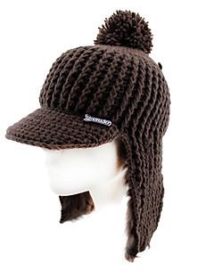 ニット帽 スキー キャップ 女性用 保温 / 防風 スノーボード ポリエステル / ウール レッド / コーヒー / グレー ゼブラプリント スキー / スケーティング / スノースポーツ / スノーボード 冬
