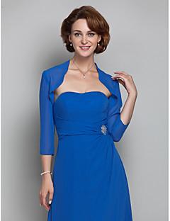 Wickeltücher für Frauen Boleros 3/4 Ärmel Chiffon Royal Blau Hochzeit / Party Breiter Kragen 39cm Drapierte Vordere Öffnung
