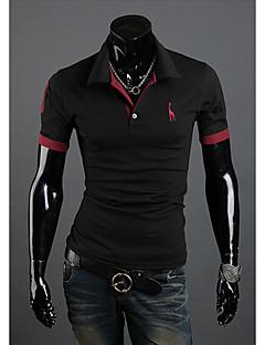 DAYD Männer Casual Kurzarm Polo Shirt (Zubehör Stil, Muster, Größe, Farbe Random) (Schwarz)