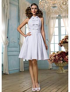 lanting는 몸집이 작은 A 라인 / 공주 신부 / 플러스 웨딩 드레스 무릎 길이의 높은 목 레이스 크기