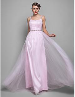 저녁 정장파티/프롬/밀리터리 볼 드레스 - 블러슁 핑크 시스/컬럼 바닥 길이 스트랩 명주그물 플러스 사이즈