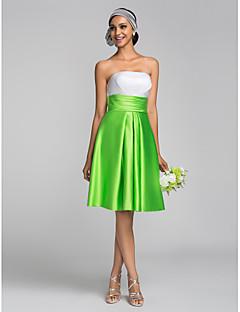Lanting Bride® Al ginocchio Raso Vestito da damigella - Linea-A / Da principessa Senza spalline Taglia forte / Minuta con Con ruche