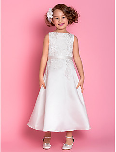 LAN TING BRIDE A-line Tea-length Flower Girl Dress - Satin Scoop with Appliques Bow(s)